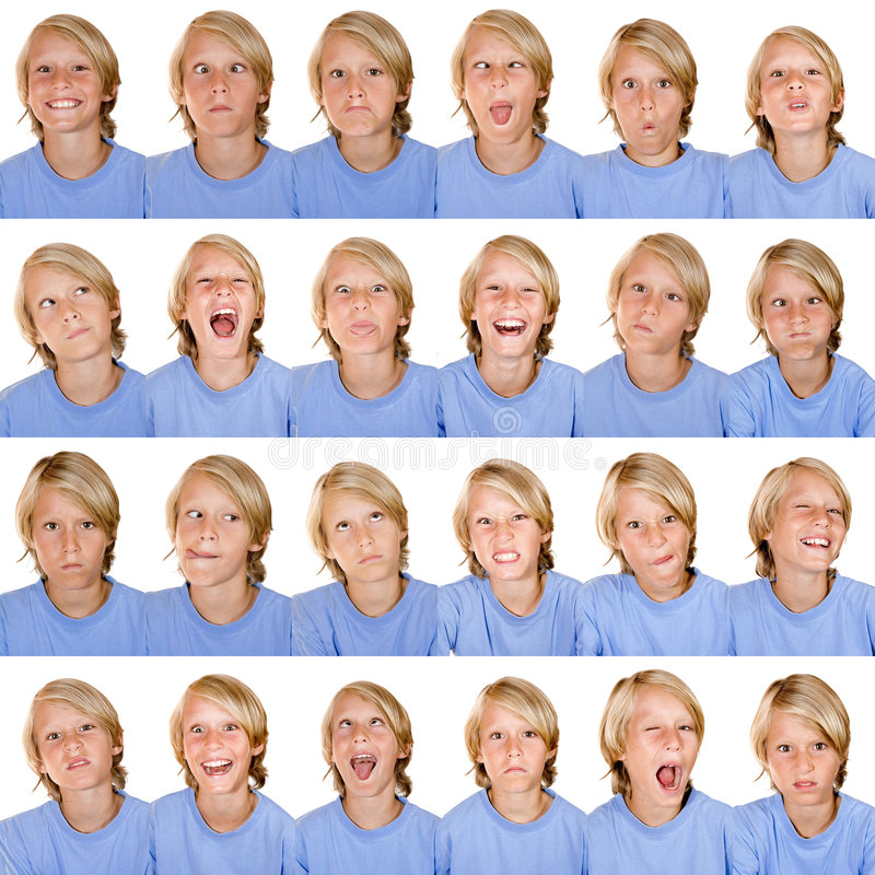 Expressions faciales multi photo stock