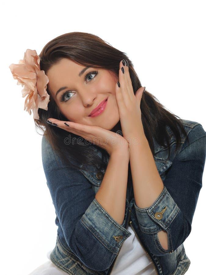 Expressions. Femme occasionnelle de sourire heureuse images libres de droits