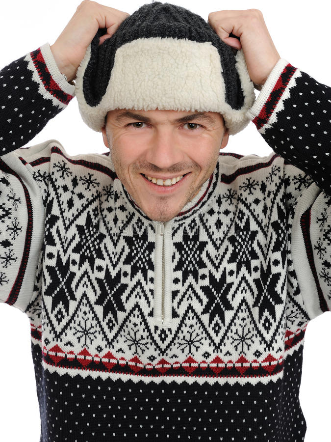 Free Expressions. Funny Winter Man In Warm Hat Listening Stock Image - 17024371