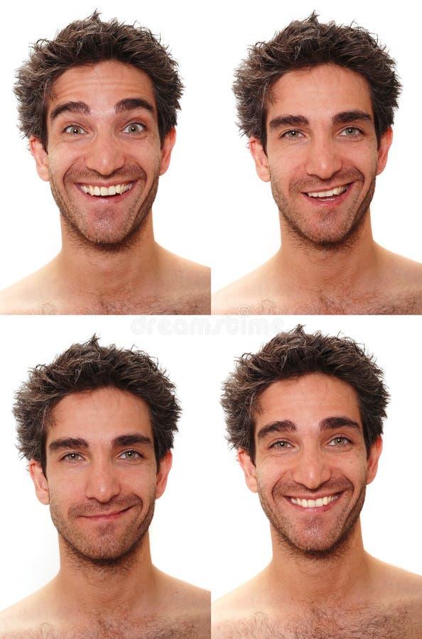 Expressions mâles multiples images libres de droits
