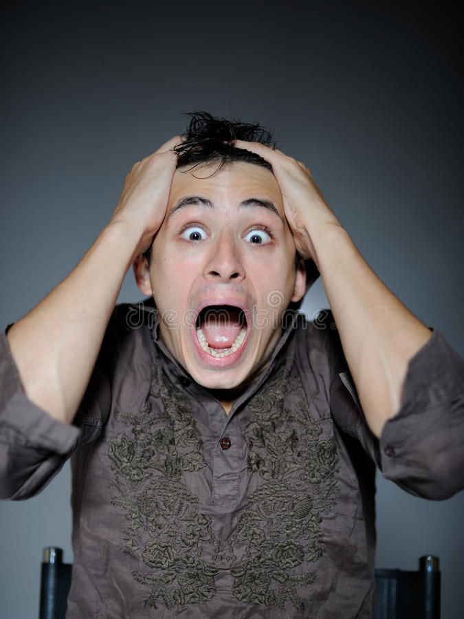 Free Expressions. Man Is Terrified And Feeling Fear Stock Photography - 15884492