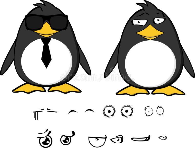 Expressions set2 de bande dessinée de bébé de pingouin de hippie illustration stock