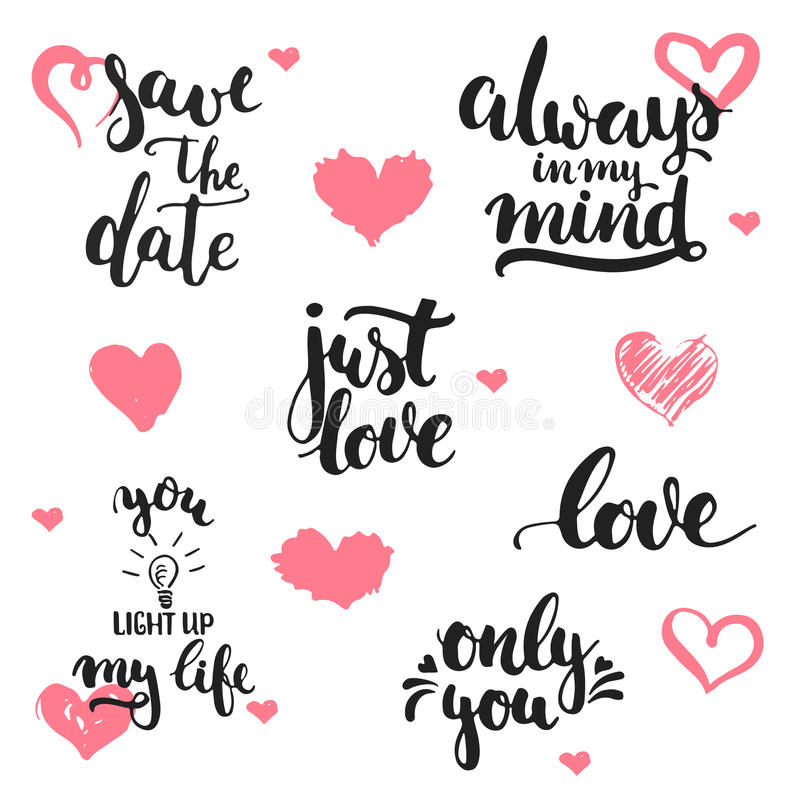 Expressions tirées par la main de lettrage au sujet de l'ensemble d'amour, d'isolement sur le fond blanc avec des coeurs Inscript illustration stock