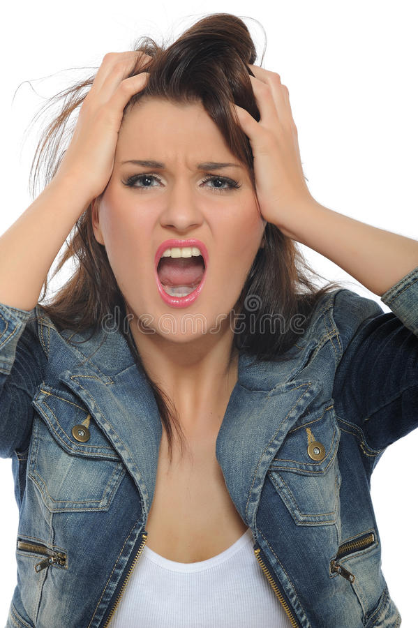 Expressions.Young attractive woman screaming royalty free stock photos