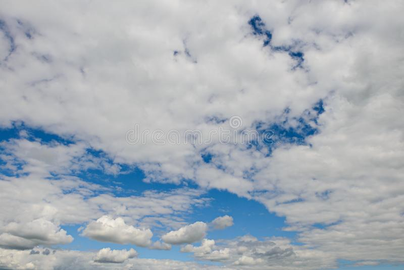 Expressive blue sky landscape with clouds royalty free stock photos