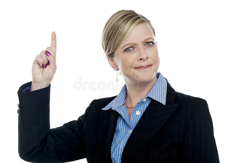 Download Expressive Businesswoman With Pointing Finger Stock Photo - Image: 25841104