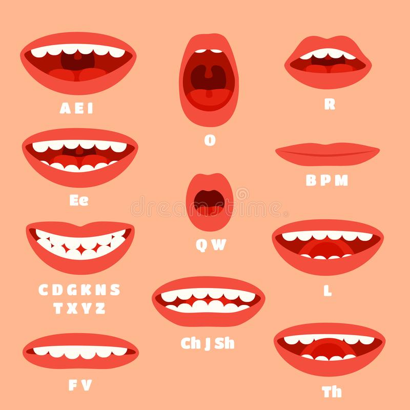 Expressive cartoon articulation mouth, lips. Lip sync animation phonemes for expression affront, speaking and talk royalty free illustration
