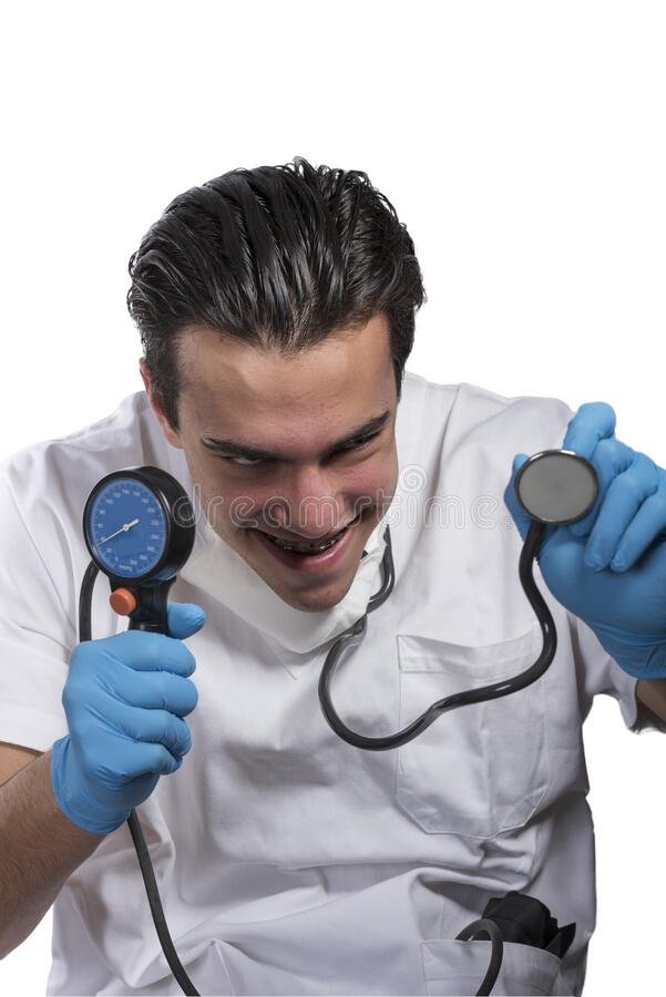 Expressive character of a crazy doctor with stethoscope royalty free stock image