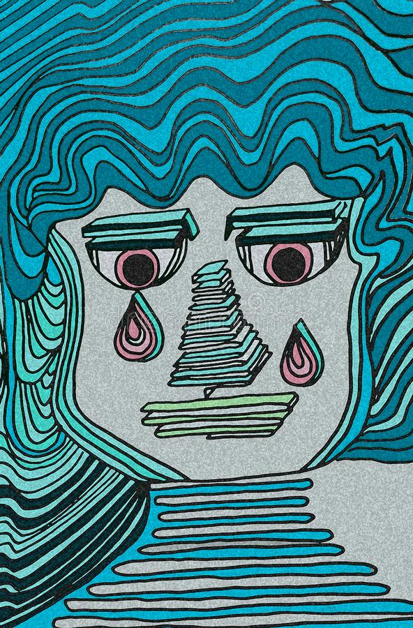 Expressive  crying face. Blue colors and light pink eyes. Geometric details. stock illustration