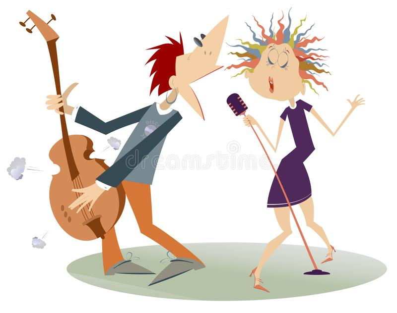 Couple musicians, singer woman and guitar player man isolated illustration royalty free illustration
