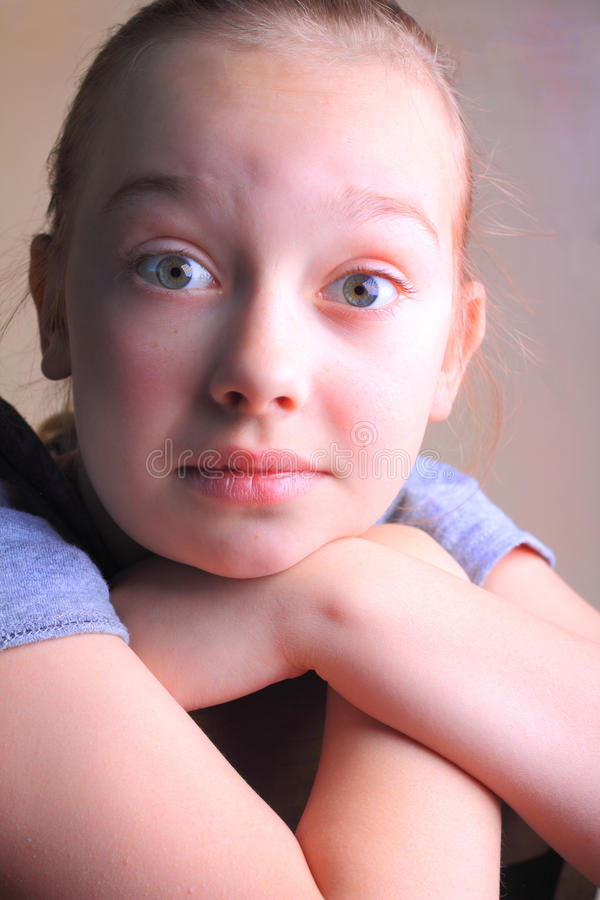 Expressive Eyes on Young Girl stock images