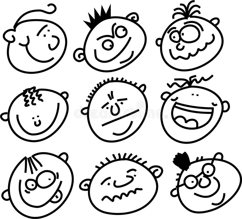 Expressive faces vector illustration