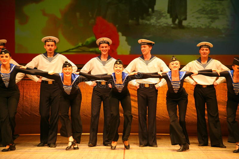 Expressive lively dance of red of revolutionary sailors stock photos