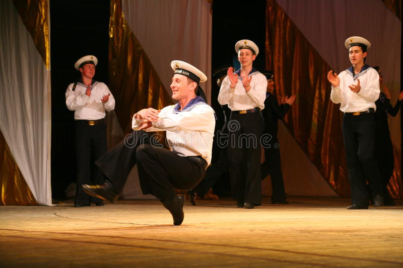 Expressive lively dance of red of revolutionary sailors royalty free stock image