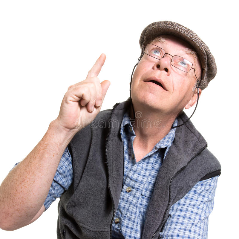 Expressive old man. Pointing isolated against white background stock photos