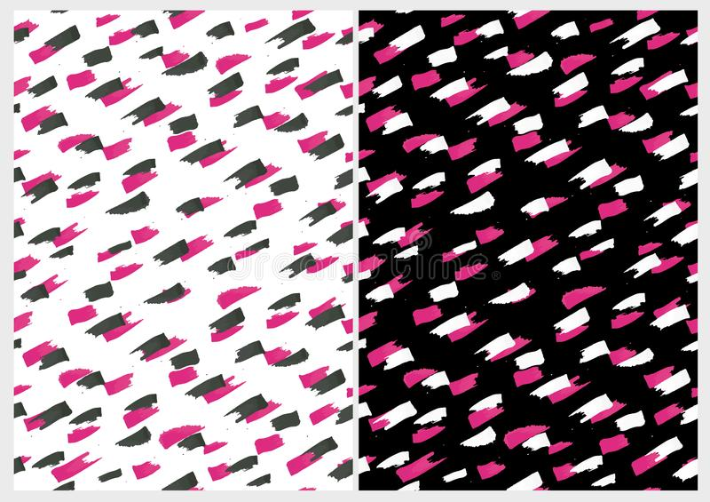 Expressive Pink Smudges.Funny Abstract Paintbrush Dabs Vector Pattern. Pink and Black Stripes on a White Background. Pink and White Spots on a Black Layout stock illustration