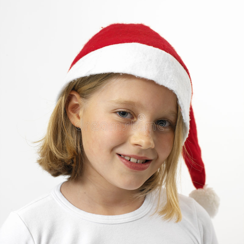Expressive santa girl royalty free stock photography