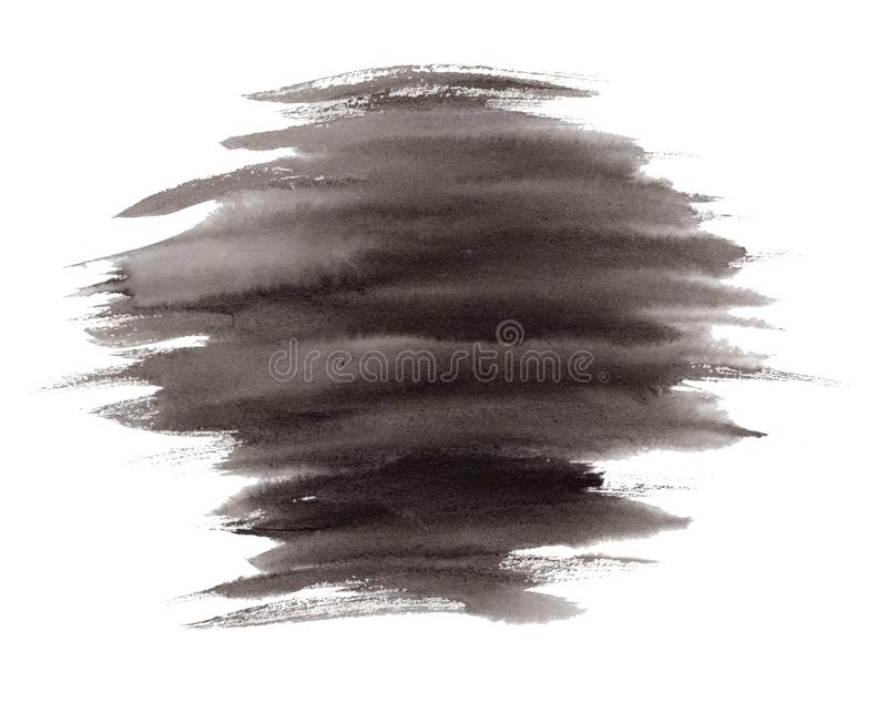 Expressive striped black ink or watercolor stain stock illustration