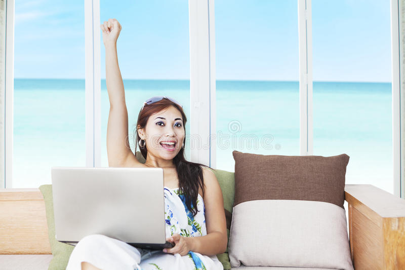 Download Expressive Woman With Laptop Stock Image - Image of beauty, hotel: 26578197