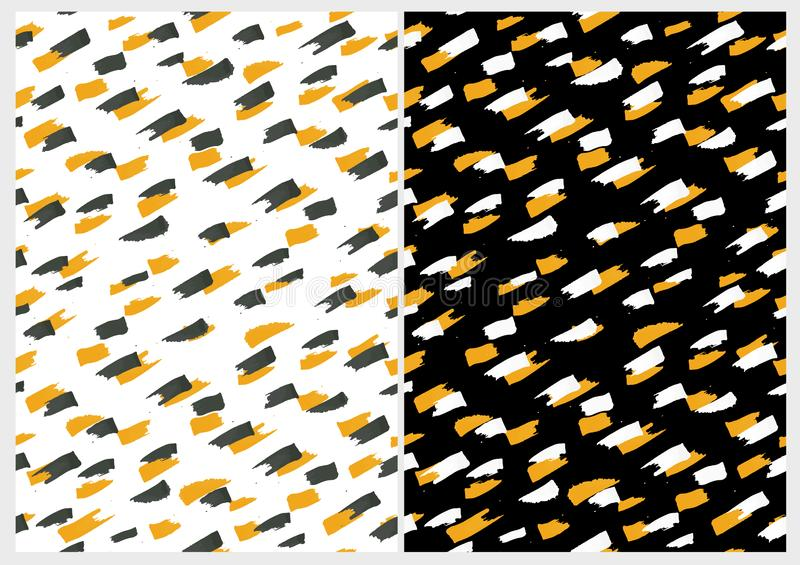 Expressive Yellow Smudges.Funny Abstract Paintbrush Dabs Vector Pattern. Yellow and Black Stripes on a White Background. Yellow and White Spots on a Black royalty free illustration