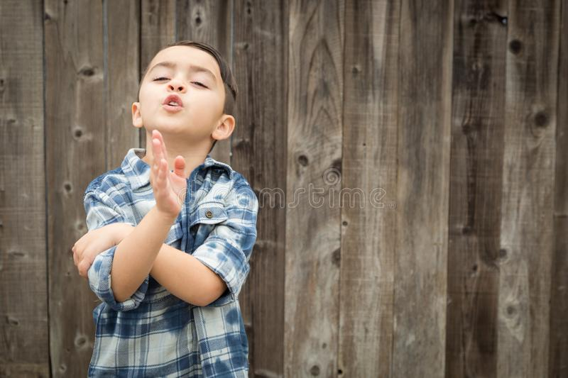 Expressive Young Mixed Race Boy Making Hand Gestures.  stock image