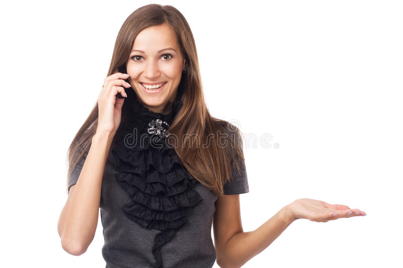 Expressive Young Woman Talking On Mobile Phone Royalty Free Stock Photos