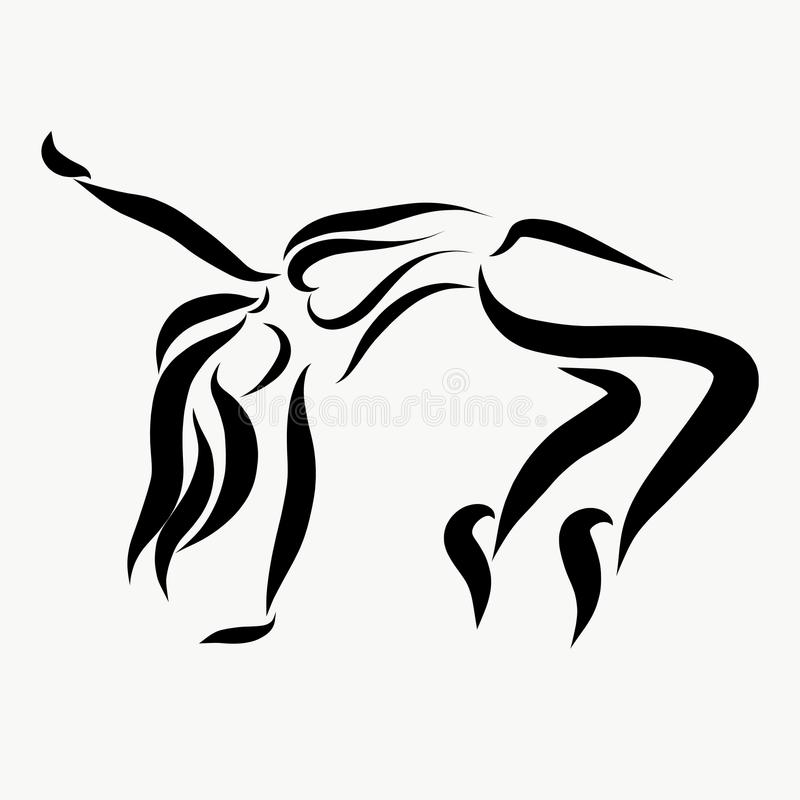 Expressive youth dance, girl in motion royalty free illustration
