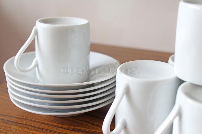 Expresso. This photo shows some Expresso cups and saucers stock image