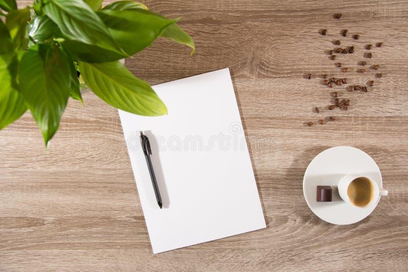 Expresso sur la table avec la plante verte, les grains de café et le blanc blanc image stock