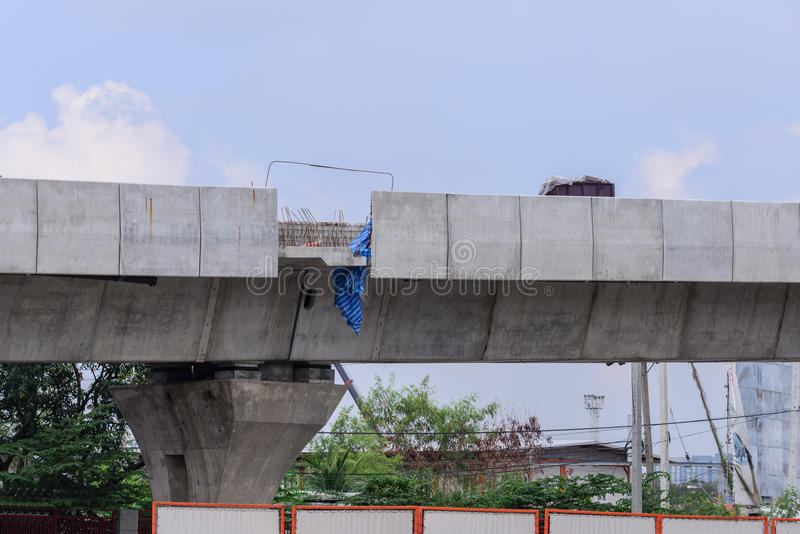 Expressway bridge over the road under construction stock photography