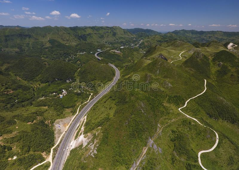 The  expressway in Guizhou. From the air, the  expressway in Guizhou is photographed, and the scenery is very beautiful royalty free stock photos
