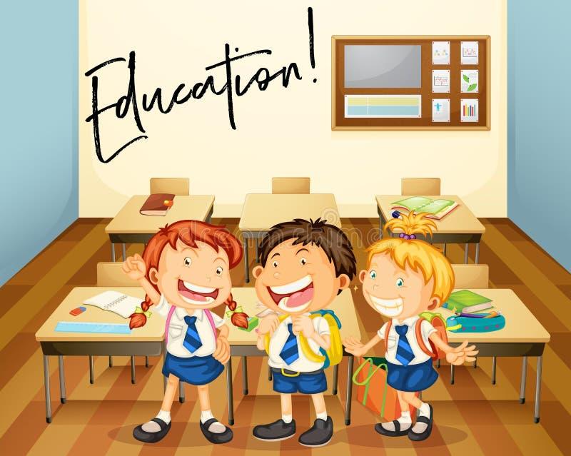Exprima a expressão para a educação com os estudantes na sala de aula ilustração stock