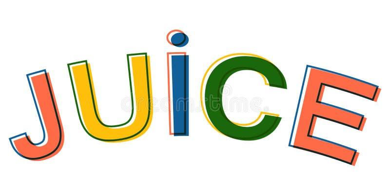 Exprima letras coloridas minimalistic do suco, suco do sinal do símbolo do logotipo do vetor ilustração do vetor