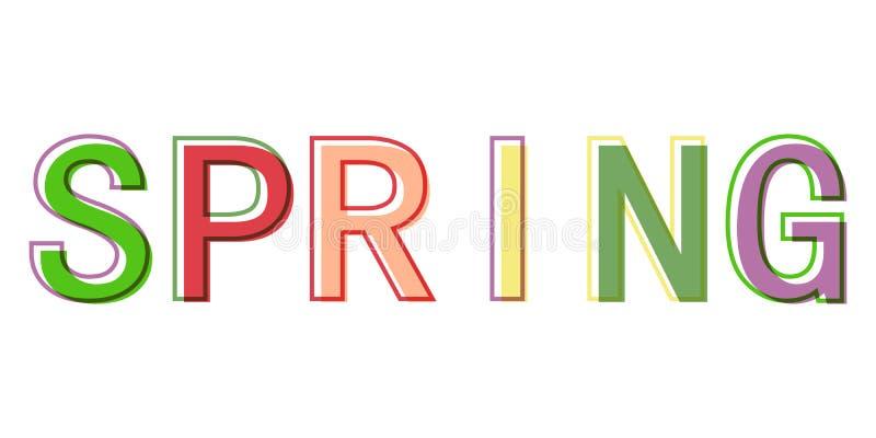 Exprima a mola colorida do sinal do símbolo do logotipo do vetor das letras do estilo minimalistic da mola ilustração do vetor