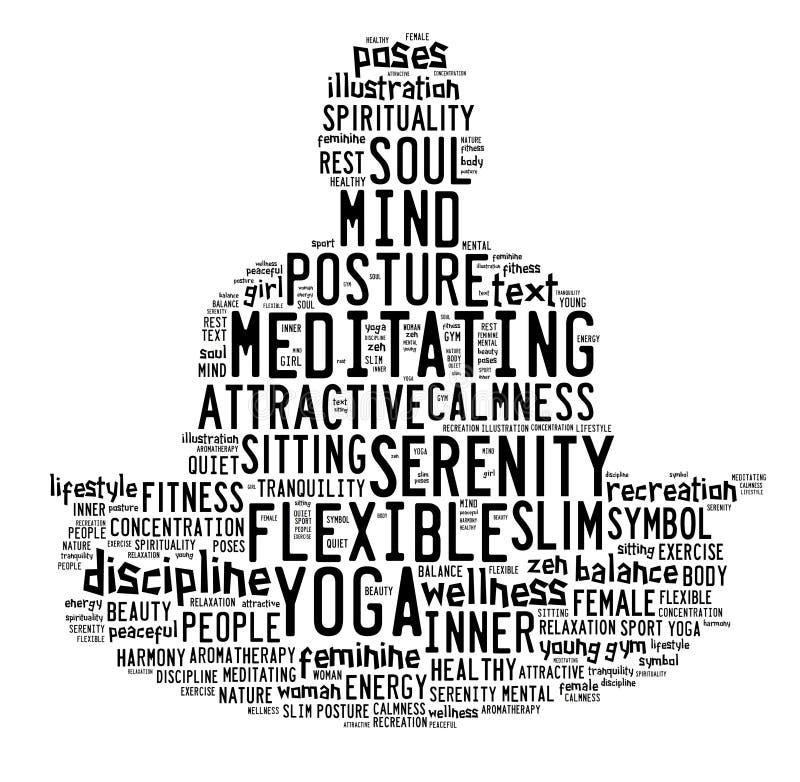 Exprima a nuvem composta na forma de um homem que faz a meditação da ioga ilustração stock