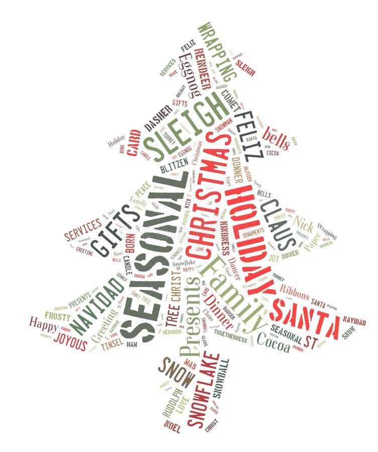 Exprima a nuvem que mostra as palavras que tratam a estação do Natal ilustração royalty free