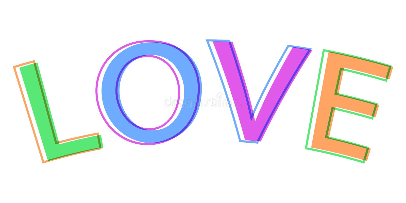 Exprima o amor colorido do sinal do símbolo do logotipo do vetor das letras do estilo minimalistic do amor ilustração do vetor