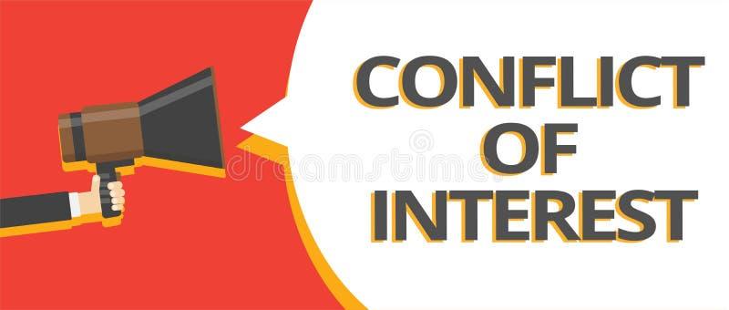 Exprima o conceito do negócio do conflito de interesses do texto da escrita para discordar com o alguém sobre objetivos ou linhas ilustração stock