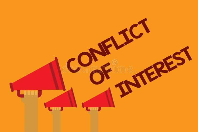 Exprima o conceito do negócio do conflito de interesses do texto da escrita para discordar com o alguém sobre objetivos ou os alv ilustração stock