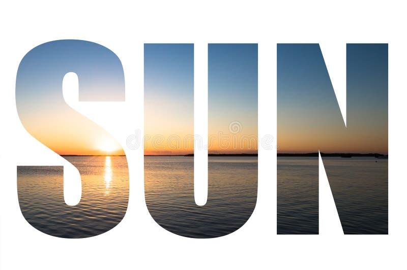 Exprima o SOL sobre a imagem bonita no Largo chave, Florida do por do sol, E.U. ilustração do vetor