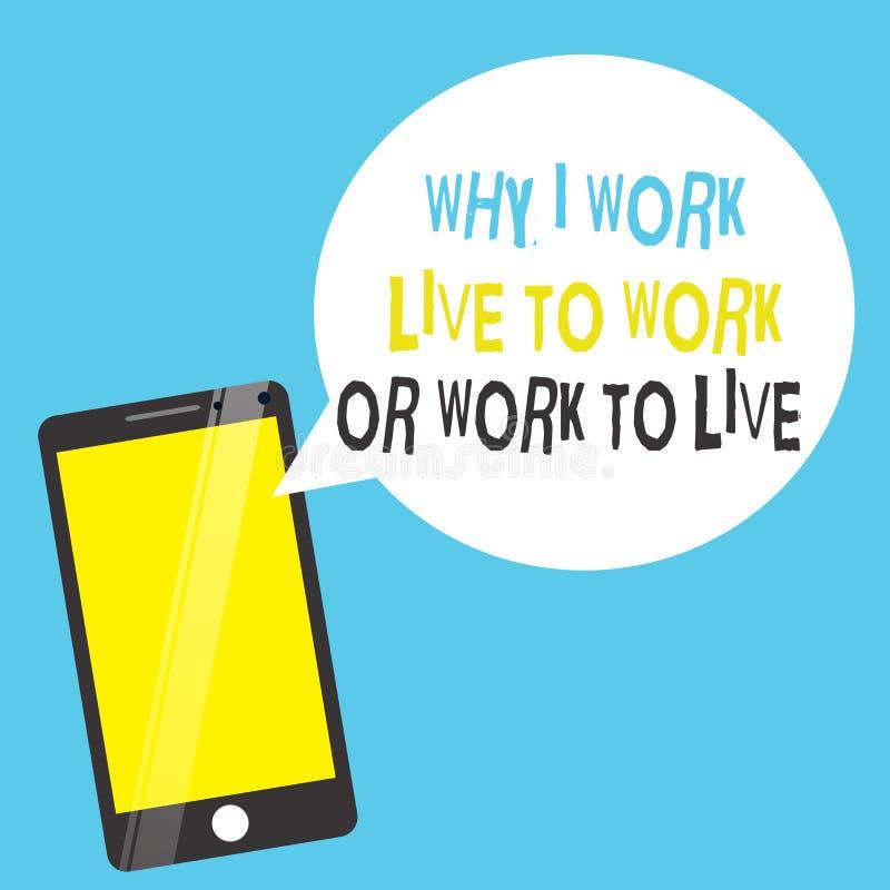 Exprima o texto da escrita porque eu trabalho Live To Work Or Work para viver Conceito do negócio para identificar as prioridades ilustração do vetor