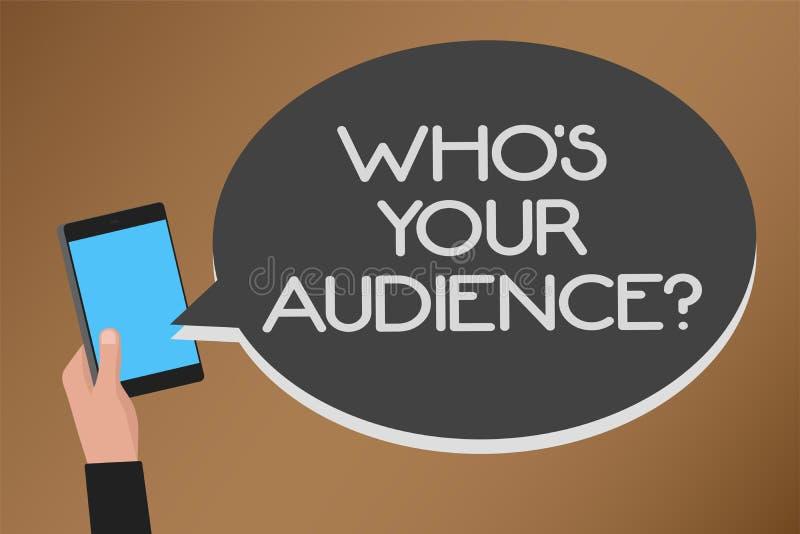 Exprima o texto da escrita que s é sua pergunta da audiência Conceito do negócio para perguntar a alguém sobre o te móvel de trei ilustração royalty free