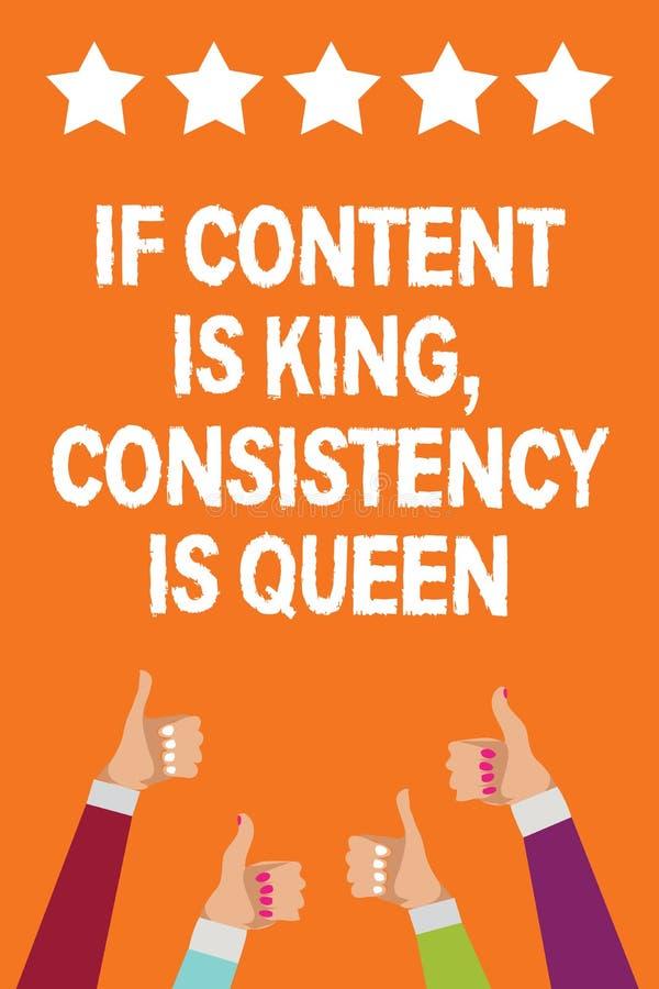Exprima o texto se o índice é rei, consistência da escrita é rainha O conceito do negócio para mulheres dos homens da persuasão d ilustração royalty free