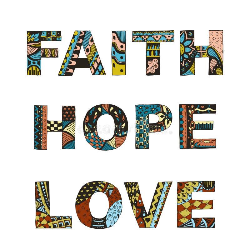 Exprime a fé, esperança, zentangle do amor estilizado no fundo branco, ilustração do vetor
