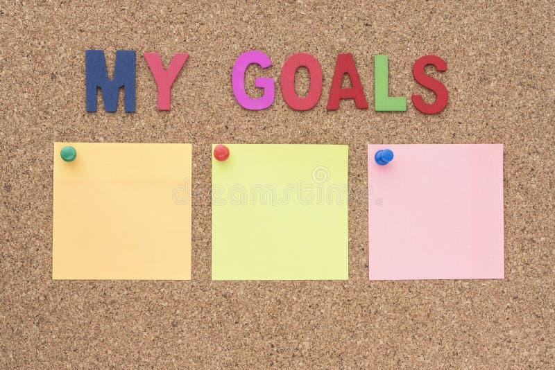 Exprime mes buts avec le bloc-notes image stock