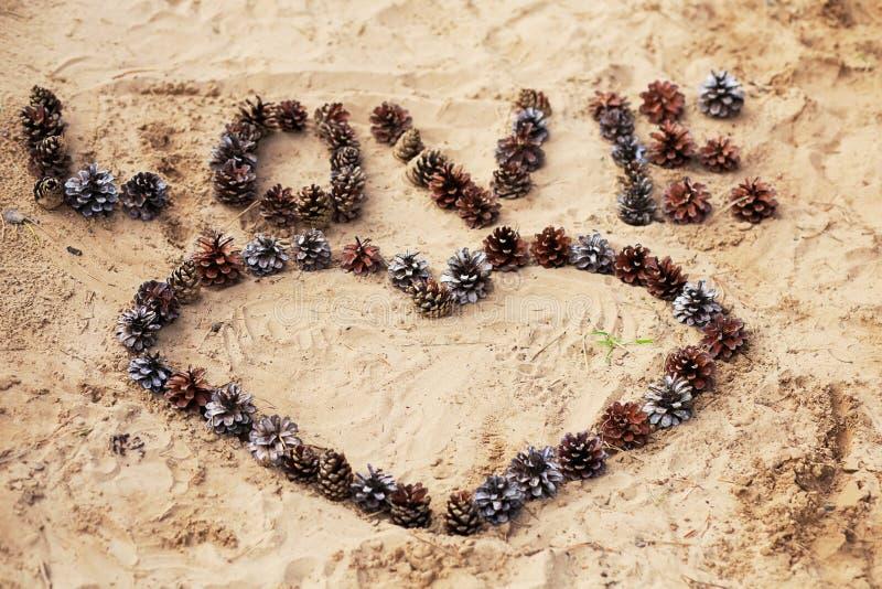 Exprimez l'amour et un coeur étendu des cônes sur le sable chaud photos libres de droits