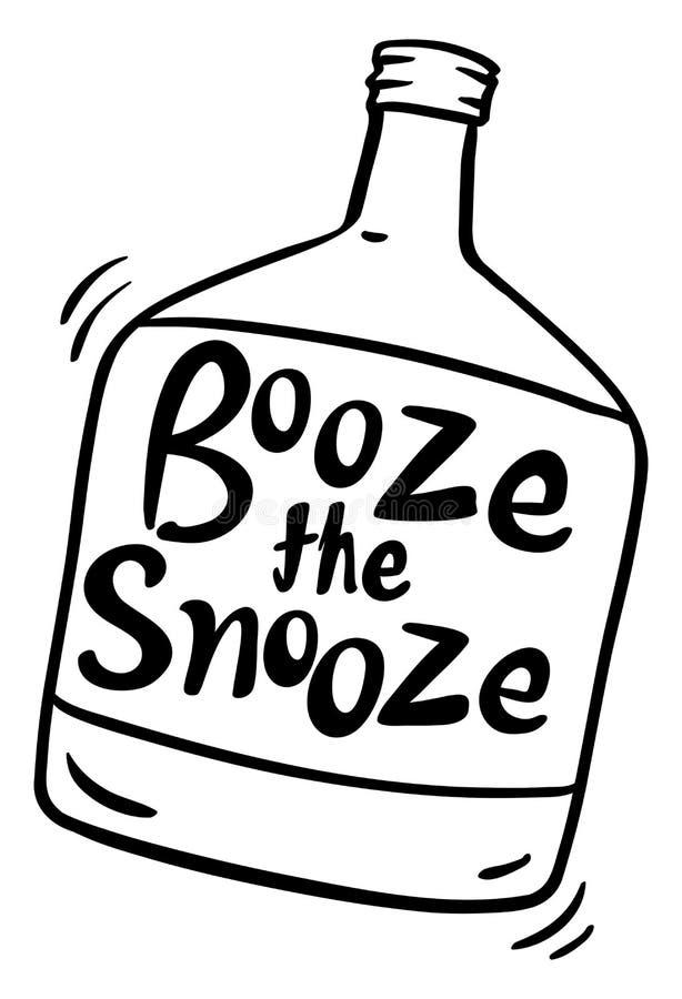 Exprimez l'expression pour des boissons alcoolisées le petit somme dans la bouteille illustration libre de droits