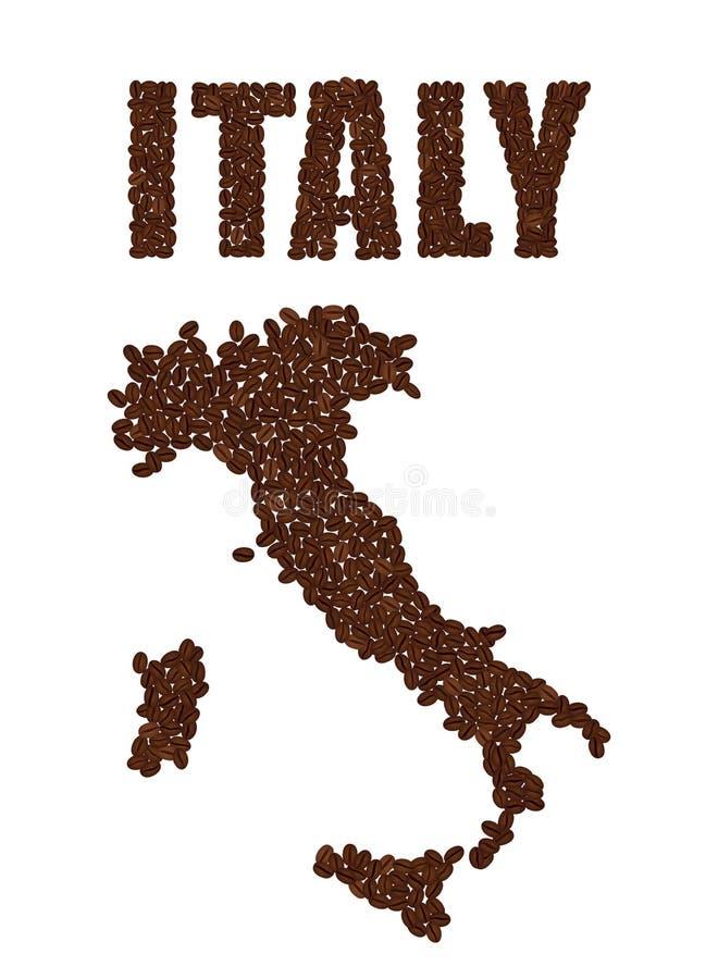 Exprimez l'ITALIE et la carte de l'Italie a créé des grains de café d'isolement illustration libre de droits