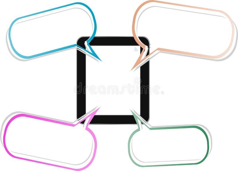 Exprimez la bulle sur le concept social de réseau de tablette noire illustration de vecteur