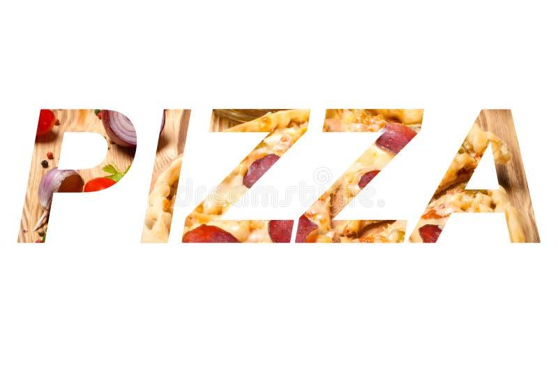 Exprimez la PIZZA au-dessus de la pizza préparée avec du fromage fondu image stock